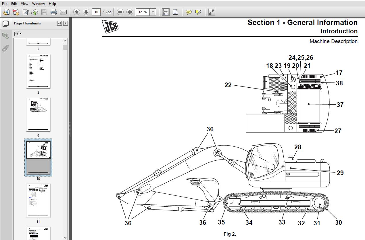 JCB Excavators JS210, JS220 with JCB Engine Service Repair