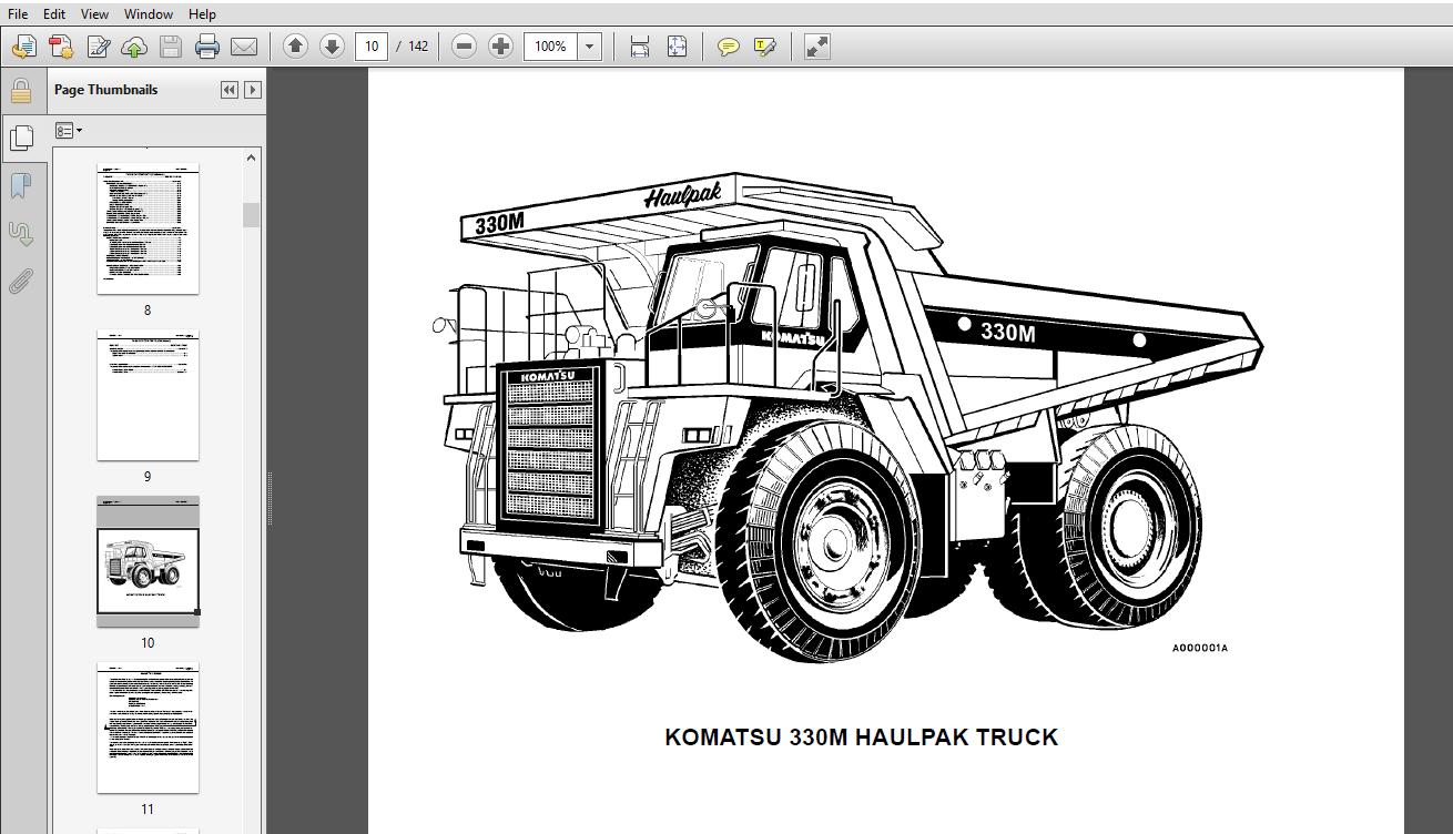 Komatsu 330M Dump Truck Operation & Maintenance Manual