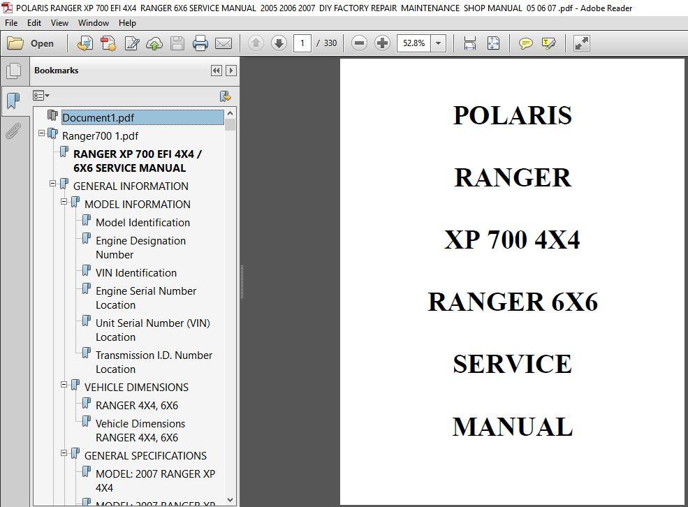 Polaris Ranger Xp 700 Efi 4x4 Ranger 6x6 Service Manual
