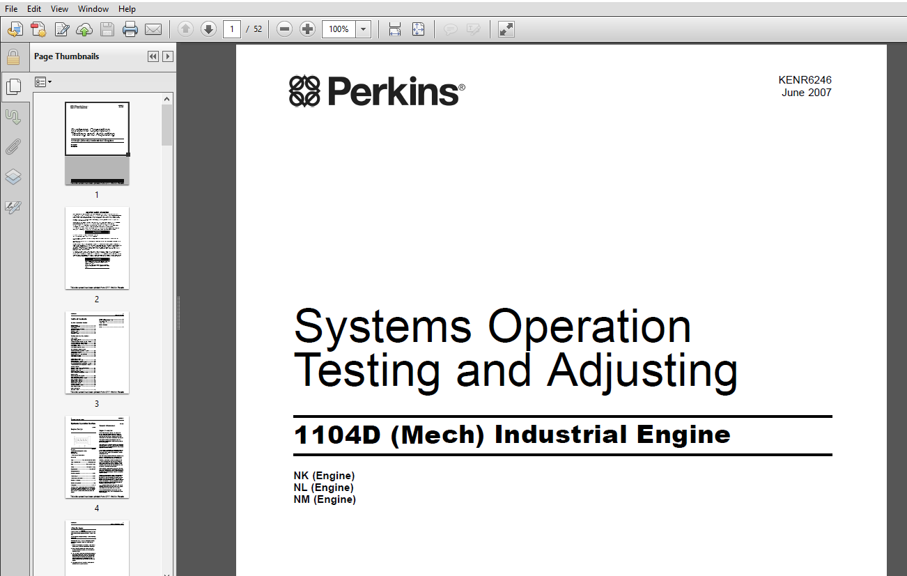 Perkins 1104D Mech Industrial Engine Systems operating