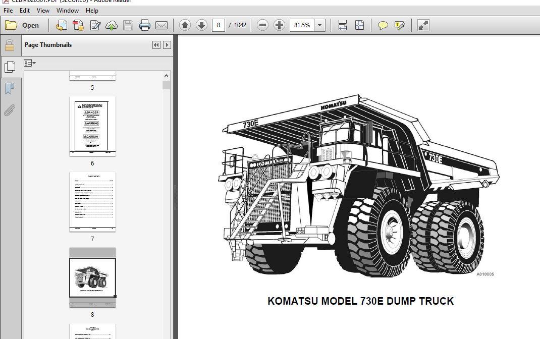 KOMATSU 730E DUMP TRUCK SERVICE REPAIR MANUAL (SNA30539