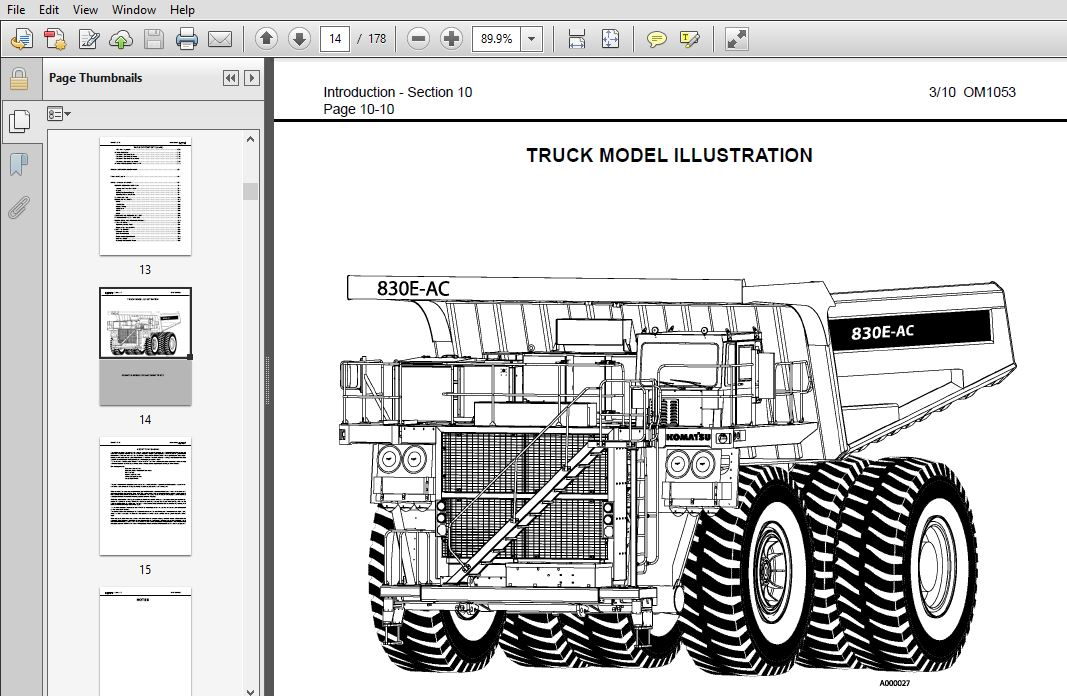 Komatsu 830E-Ac Dump Truck Operation & Maintenance Manual