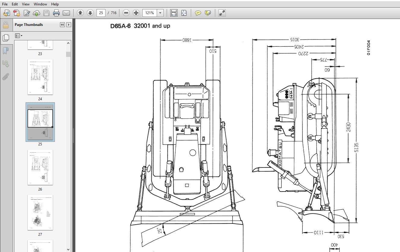 Komatsu D60A-6, D60P-6, D60PL-6, D65A-6, D65P-6 Crawler