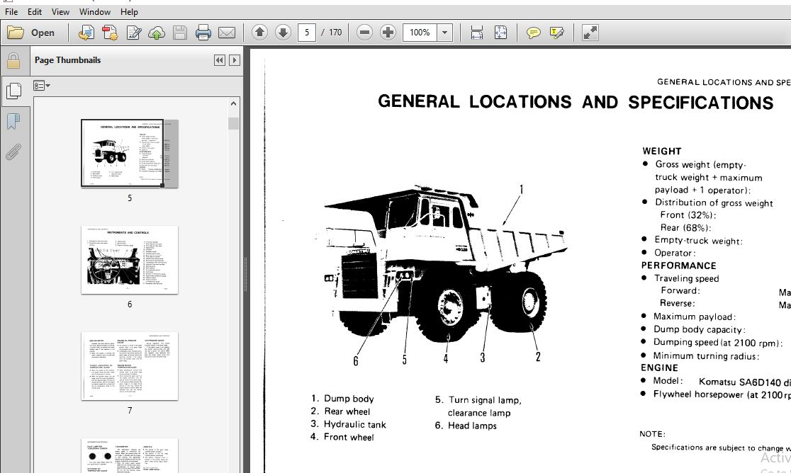 Komatsu Dump Truck HD325-5 Operator & Maintenance Manual