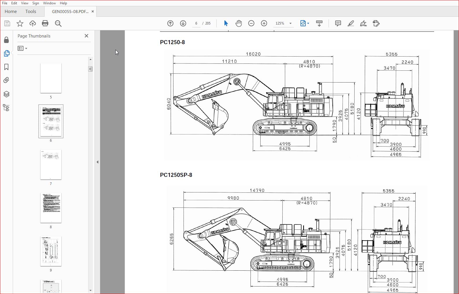 Komatsu Hydraulic Excavator PC1250-8 PC1250LC-8 PC1250SP-8