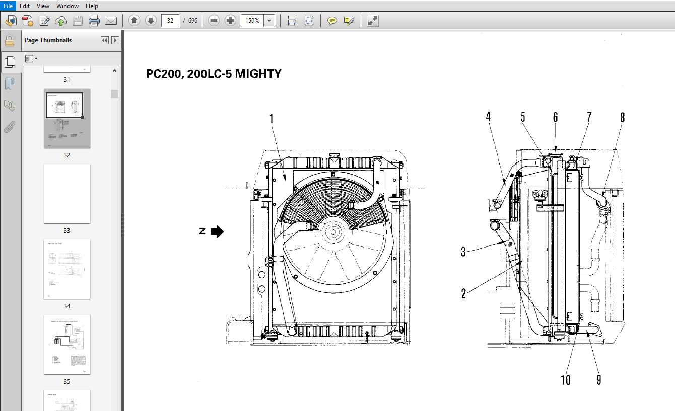 Komatsu PC200-5 MIGHTY, PC200LC-5 MIGHTY, PC220-5, PC220LC