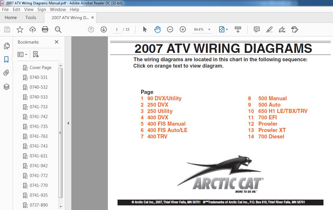 2007 Arctic Cat ATV Wiring Diagrams Manual - PDF DOWNLOAD ~ HeyDownloads -  Manual Downloads   Wiring Schematic 2007 Arctic Cat 700      HeyDownloads